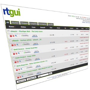 rtGui – a web based front end for rTorrent
